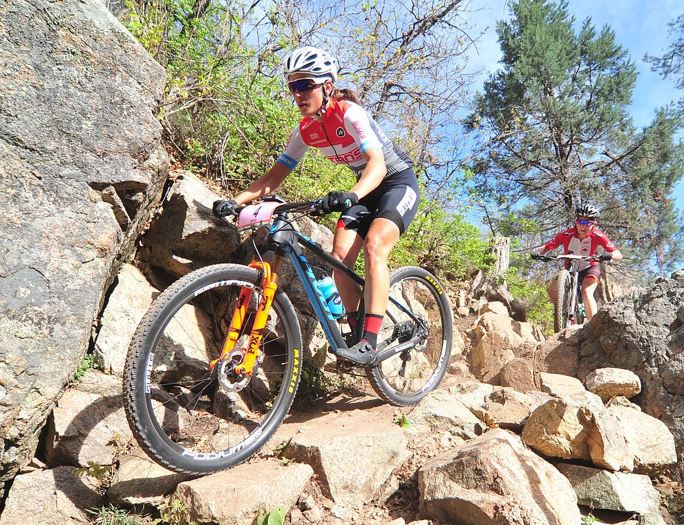 Sofia Gomez-Villafane goes through a technical section on trail 48 during the Whiskey Off Road  50 mile professional race in Prescott Sunday, April 29, 2018. (Les Stukenberg/Courier)