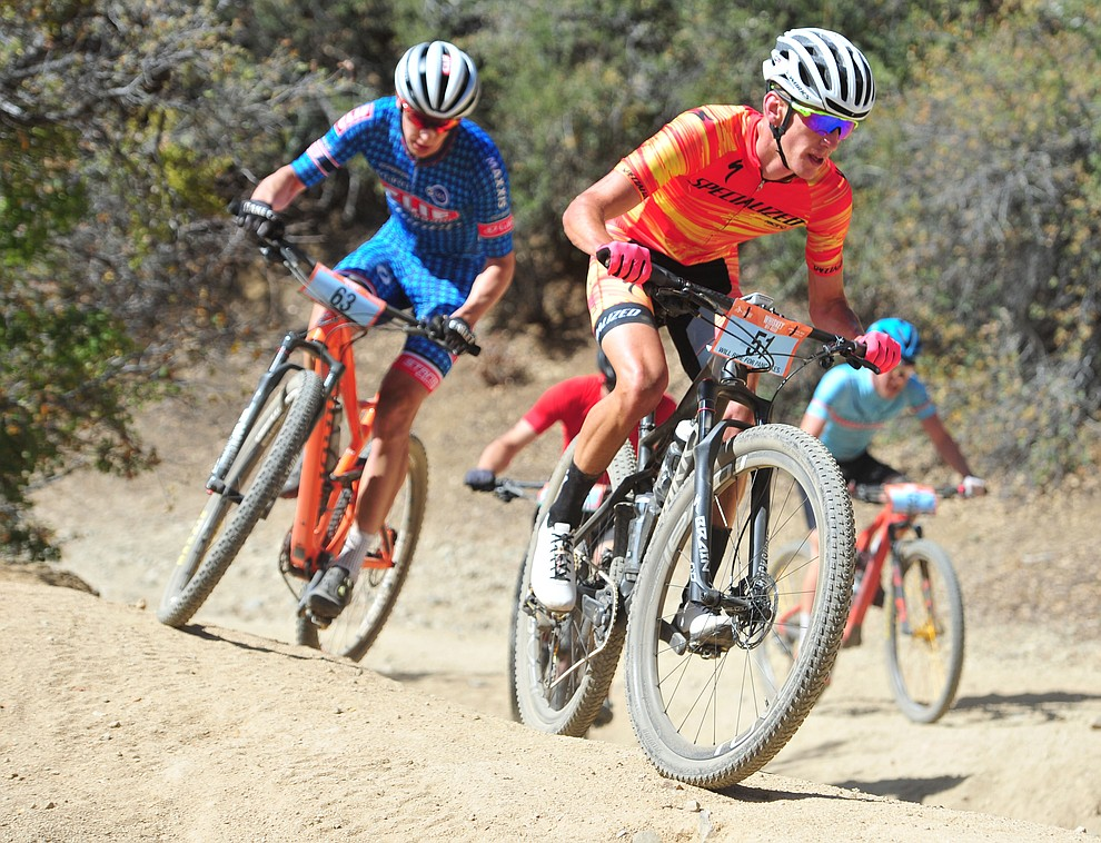 Alex Wild leads a group of riders on the 53 FS Road during the Whiskey Off Road  50 mile professional race in Prescott Sunday, April 29, 2018. (Les Stukenberg/Courier)