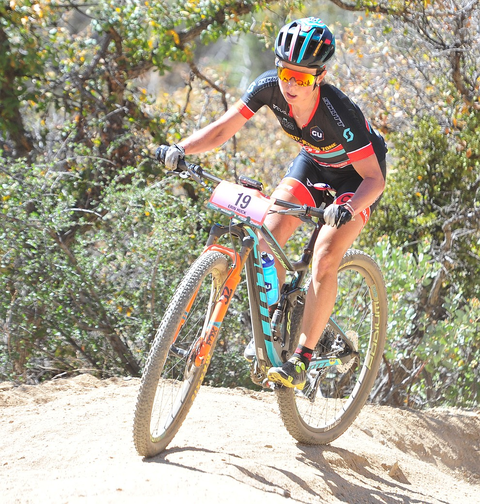 Erin Huck on the 53 FS Road during the Whiskey Off Road  50 mile professional race in Prescott Sunday, April 29, 2018. (Les Stukenberg/Courier)