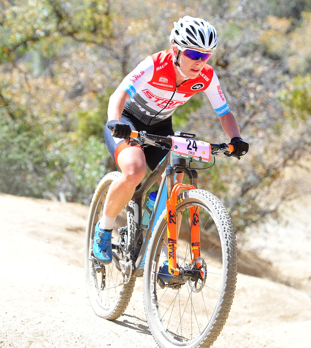 Chloe Woodruff on the 53 FS Road during the Whiskey Off Road  50 mile professional race in Prescott Sunday, April 29, 2018. (Les Stukenberg/Courier)