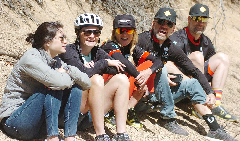 Spectators cheer on the racers on the 53 FS Road during the Whiskey Off Road  50 mile professional race in Prescott Sunday, April 29, 2018. (Les Stukenberg/Courier)