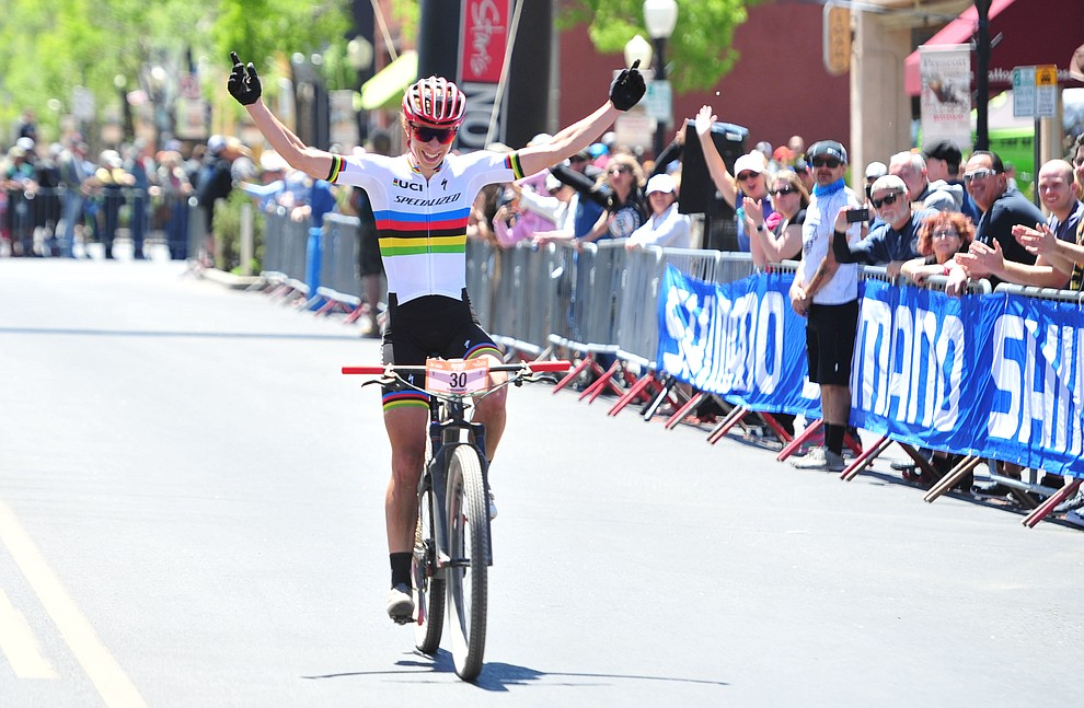 World Champion Annika Langvad wins the women's race during the Whiskey Off Road  50 mile professional race in Prescott Sunday, April 29, 2018. (Les Stukenberg/Courier)