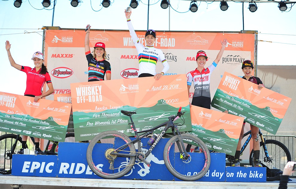 Women's podium following the Whiskey Off Road  50 mile professional race in Prescott Sunday, April 29, 2018. (Les Stukenberg/Courier)