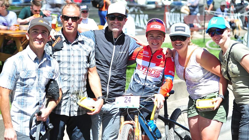 Tim Racette, Trevor Olson, Chloe Woodruff, Evie Racette and Karleen Olson join Todd Sadow following the Whiskey Off Road  50 mile professional race in Prescott Sunday, April 29, 2018. (Les Stukenberg/Courier)