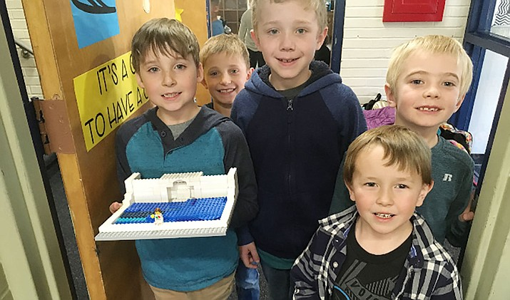Second-graders from Mrs. Brown's Geography Club at Lincoln Elementary taught small groups in Mrs. Dillon's K-2 Lego Club about Italy's Trevi Fountain, then worked with their group to recreate the landmark with Legos. From left, Devan Peckham, Michael O'Neill, Paul Capanna, Sterling Hughely and Geddy Kolar.  (PUSD/Courtesy)