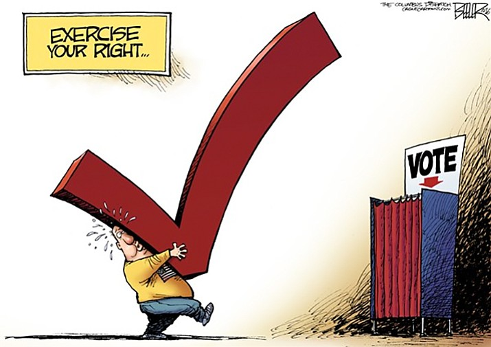 This election season is heating up and looks to generate a lot more debate and healthy discussion. The Courier will provide candidate bios, question-and-answer articles on the issues they will face, and coverage of local forums and town halls so readers are better prepared to exercise their right to vote. (Cartoon by Nate Beeler, Cagle Cartoons)