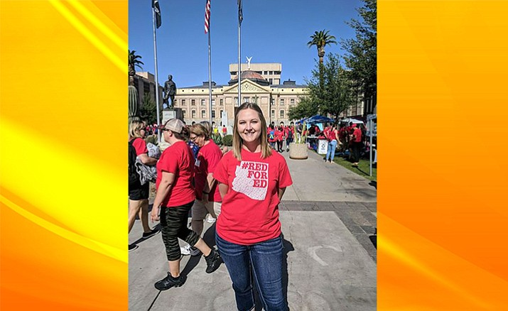 Kelsey Cochrane at the Capitol building in Phoenix.