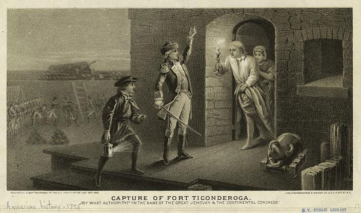 1875 engraving depicting the capture of Fort Ticonderoga by Ethan Allen on May 10, 1775.