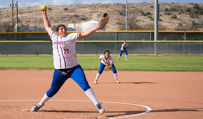 Camp Verde sophomore Jacy Finley struck out 10 Coyotes during the Cowboys' 7-0 win over Phoenix Arizona Lutheran on Saturday. (VVN/Halie Chavez)