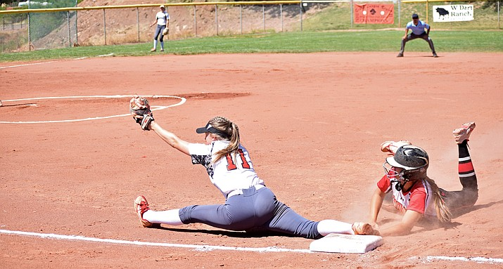 Mingus junior Lexi Ough splits to force out a Coconino runner during the Panthers' 5-2 win over Mingus Union on Saturday in the first round of a the state tournament. (VVN/James Kelley)