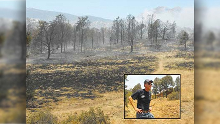 In this photo from June 20, 2013, Steve Maslansky, inset, returned home from a vacation to find that his efforts to create defensible space around his home had helped firefighters to save it. (Scott Orr/Courier file)