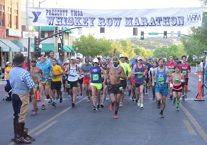 The full marathon runners start at the 2017 Whiskey Row Marathon in Prescott. This year's event is Saturday, May 5. (Les Stukenberg/Courier, file)