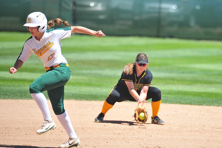 Yavapai's Brianna Griffiths fields the ball at shortstop as the Roughriders host Central Arizona in the opening round of the 2018 NJCAA Region 1 Division 1 Softball Tournament Friday, May 4, 2018 in Prescott. (Les Stukenberg/Courier)