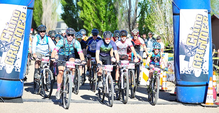Riders leave for their 44-mile gravel race at the start of the Chino Grinder Saturday, May 5, 2018 in Chino Valley. (Les Stukenberg/Courier)