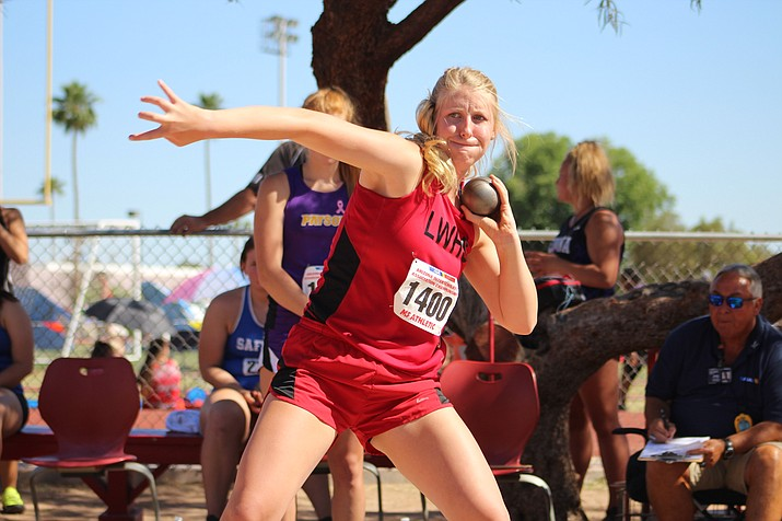 Sadie Snay gave Lee Williams a top-five finish Friday in the shot put with a personal record of 34 feet, 8.5 inches that was good enough for fifth-place during the Division III State Championship at Mesa Community College.
