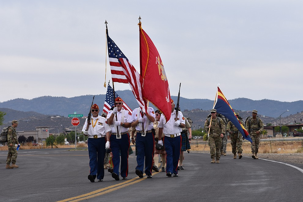 The Marine Corps League Honor Guard heads up a parade for National Guard Infantry Unit Charlie Company 1st Battalion-158 in honor of the company's anticipated deployment to Afghanistan. The parade took place in Prescott Valley on Sunday, May 6, 2018. (Richard Haddad/WNI)