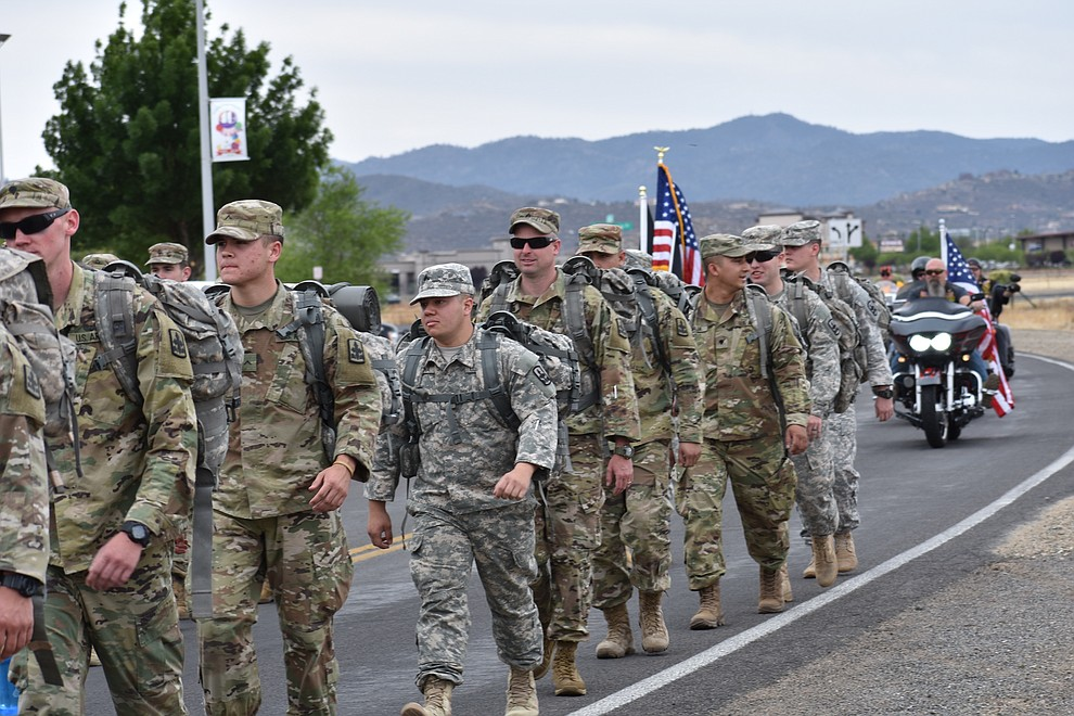 National Guard Infantry Unit Charlie Company 1st Battalion-158 parade around the Civic Center in Prescott Valley on Sunday, May 6, in anticipation of their deployment to Afghanistan. (Richard Haddad/WNI)