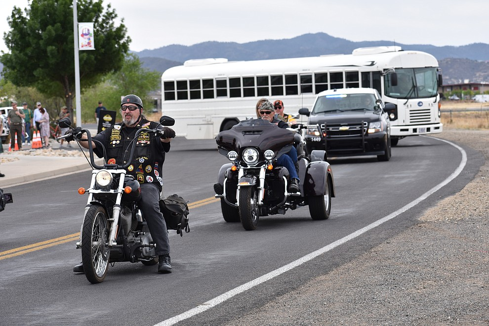 Local motorcyclists and veterans joined a military parade in Prescott Valley Sunday, May 6, 2018 to honor National Guard Infantry Unit Charlie Company 1st Battalion-158 in anticipation of their deployment to Afghanistan. (Richard Haddad/WNI)