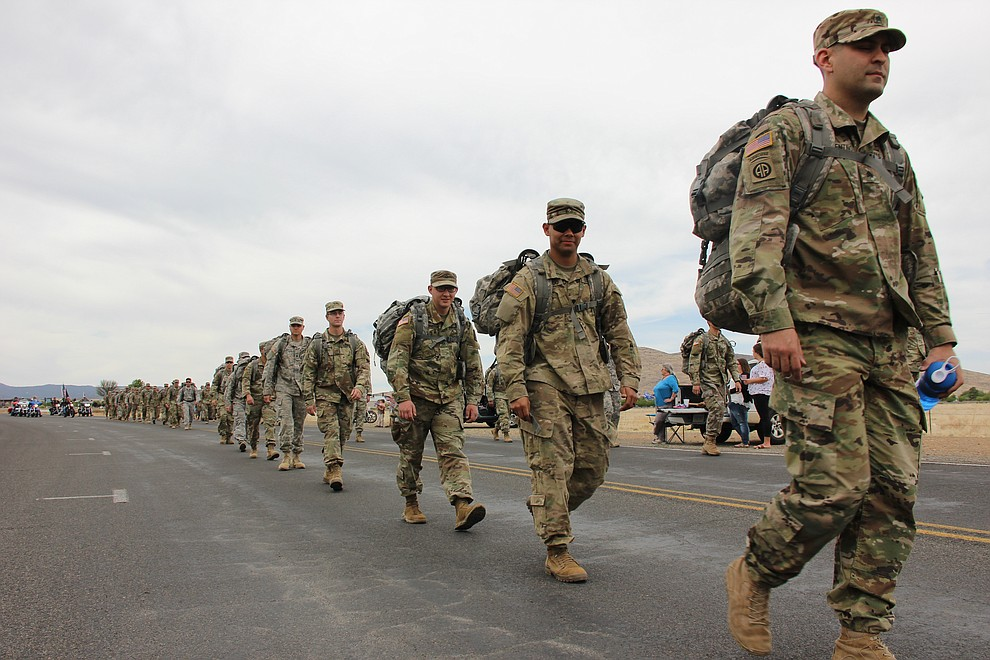 Troops with National Guard Infantry Unit Charlie Company 1st Battalion-158 parade around the Civic Center in Prescott Valley on Sunday, May 6, 2018 in anticipation of their deployment to Afghanistan. (Max Efrein/Daily Courier)