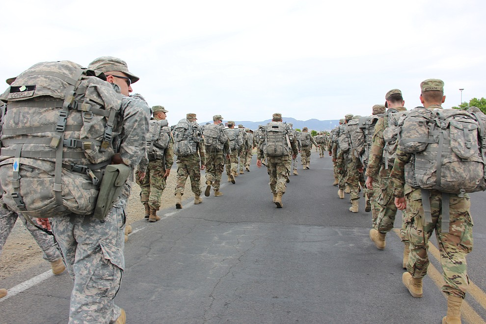 National Guard Infantry Unit Charlie Company 1st Battalion-158 parade around the Civic Center in Prescott Valley on Sunday, May 6, in anticipation of their deployment to Afghanistan. (Max Efrein/Daily Courier)