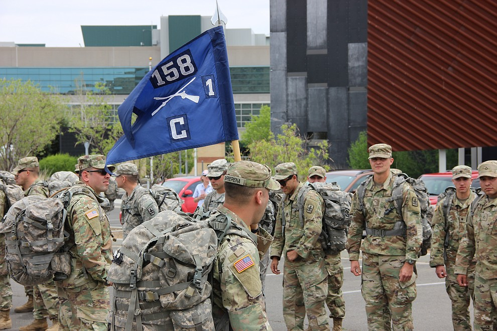 Troops with National Guard Infantry Unit Charlie Company 1st Battalion-158 were honored with a military parade around the Civic Center in Prescott Valley on Sunday, May 6, 2018. The event was in anticipation of the company's deployment from the Prescott area to Afghanistan. (Max Efrein/Daily Courier)