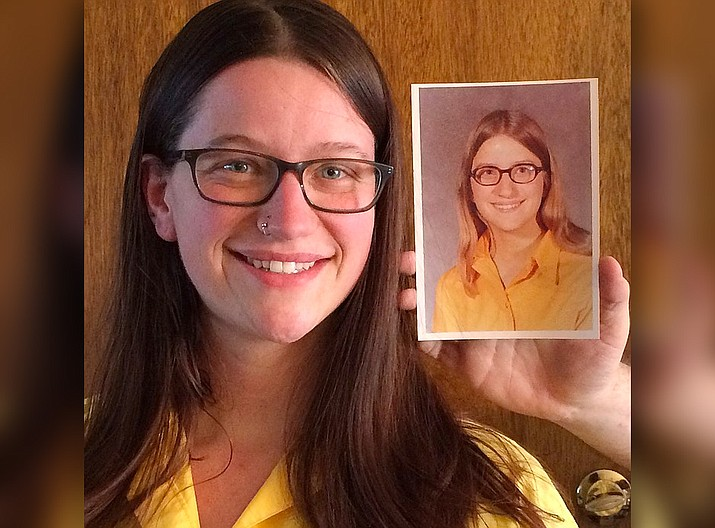 Andrea Parrott, a college student in Alaska, age 24, when this photo was taken, holds a photograph of her mother, Molly Parrott, Prescott Valley, who was 17 years old at the time her picture was taken. (Sue Tone/Courier)