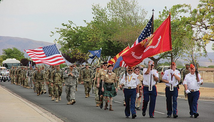 National Guard Infantry Unit Charlie Company 1st Battalion-158 parades around the Civic Center in Prescott Valley on Sunday, May 6, in anticipation of deployment to Afghanistan. (Max Efrein/Courier)