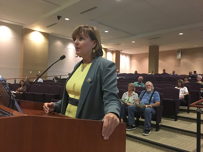 State Rep. Regina Cobb, R-Kingman, speaks to the Mohave County Board of Supervisors Monday about her work on the budget at the recent Legislature, which included funding for teacher raises and $100,000 to study the Hualapai Basin aquifers.