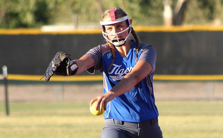 Kingman Academy's Maryssa Edwards pitched in her final game for the Lady Tigers in the quarterfinals of the 2A State Championship in Phoenix.