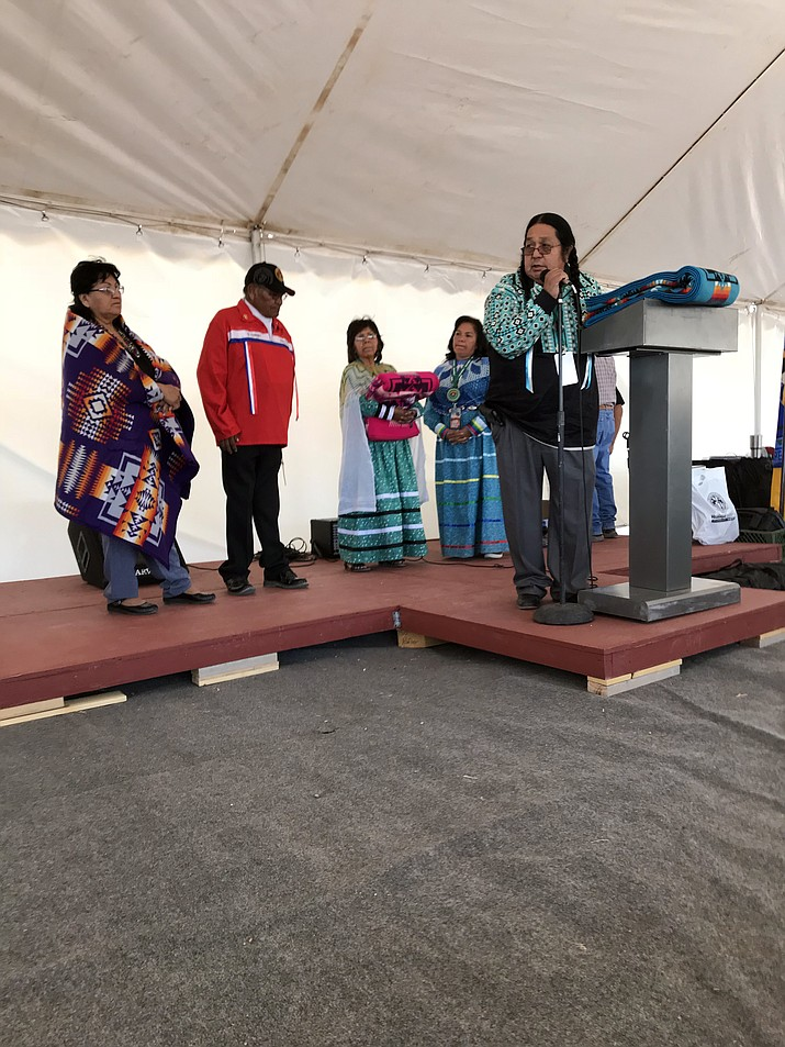 Hualapai tribal chairman Dr. Damon Clark recognizes employees who have been at Grand Canyon West since the its opening in 1988. (Photo courtesy of the Hualapai Tribe)