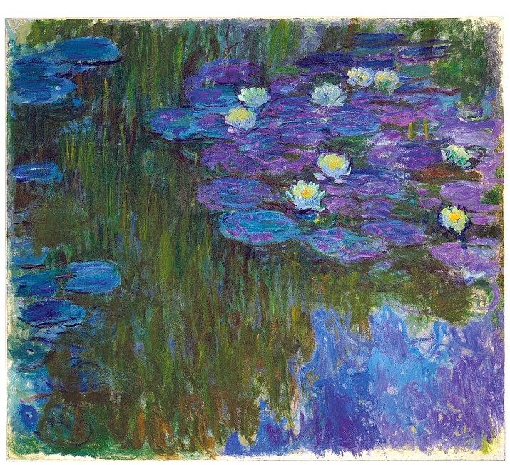 "This photo provided by Christie's Images Ltd. 2018 shows Claude Monet's, ""Nymphéas en fleur,"" (""Flowering Water Lilies"") painted 1914-1917. The painting, part of the collection of oil-family scion David Rockefeller and his wife Peggy, has an estimate of $50 million to $70 million and will be auctioned auctioned by Christie's Tuesday evening, May 8, 2018 in New York. Rockefeller, grandson of Standard Oil founder John D. Rockefeller, died in March at the age of 101. His family is selling the art collection to benefit cultural, educational, medical and environmental charities. (Christie's Images Ltd. 2018 via AP)"