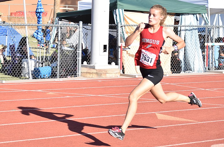 Mingus junior Meg Babcock ran her way to the podium in three events at Saturday's state track meet, finishing third in the 800 and first in the 400 meters. She also joined Hannah DeVore, Shelby Brenner and Natalee Rogers in the 4X400 relay, which finished third. (VVN/James Kelley)