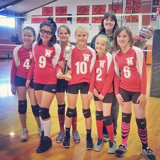 Maine Consolidated School placed third in the I-40 League B team volleyball tournament April 21. From left: Kyleigh Amos, Stori Betts, Madisyn Martinez, Kai Mortensen, Samantha Stafford, Julia Dyer and coach Julie Stafford. (Submitted photo)