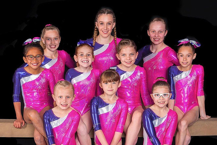 The All Starz gymnastics team won 21 medals at the Region 1 Championships April 20-22 in Salt Lake City. Front row from left, Kinsley Bahre, Daylee Brazdys and Rylee Stout. Middle row from left, Danyka Adame, Emily Wisda, Kylie Marshall and Alauna Ballard. Back row from left, Cash Proffit, Sarah Fiddler and Madelyn Lock.