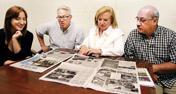 Second from right, Babette Cubitt is the 12th publisher in the 70-year history of Verde Valley Newspapers, home of the Verde Independent, Camp Verde Bugle, Kudos and The Villager. Also pictured, Associate Editor Kelcie Grega, Editor Dan Engler and Circulation Manager Dave Zamora. (Photo by Bill Helm)