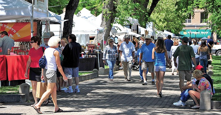 The Mountain Artists Guild's 32nd Annual Art & Wine Festival is set for Saturday and Sunday, May 12-13, 2018, at Prescott's courthouse plaza. In this file photo, an earlier festival -- on May 12, 2012 -- is pictured at the same location. (Courier file photo)