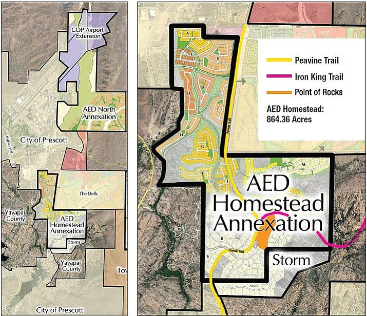 The maps provided by Arizona Eco Development show the areas of proposed annexation (on left), along with the basic plans for development on the acreage. The right map is a close-up view of the area on the left. (Arizona Eco Development/Courtesy)