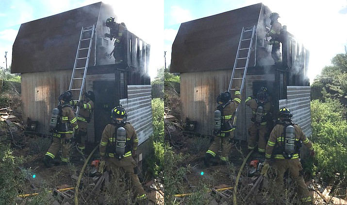 Fire crews were on the scene for about 1 hour Wednesday extinguishing this shed fire on South Hillert Drive. VVFD courtesy  photo