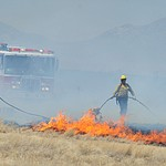 The Viewpoint Fire started along Highway 89A in Prescott Valley Friday morning, May 11, 2018. The fire, driven by a sustained wind, headed north into the Poquito Valley area. (Les Stukenberg/Courier)