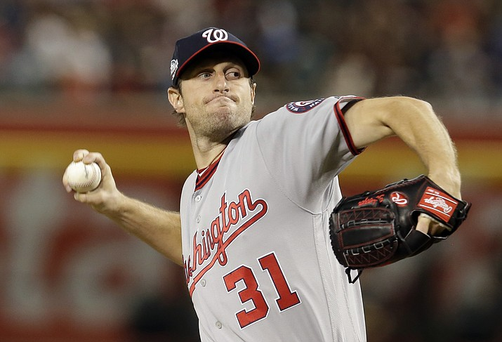 Washington Nationals pitcher Max Scherzer throws during the first inning of the team's baseball game against the Arizona Diamondbacks, Friday, May 11, 2018, in Phoenix. (Rick Scuteri/AP)