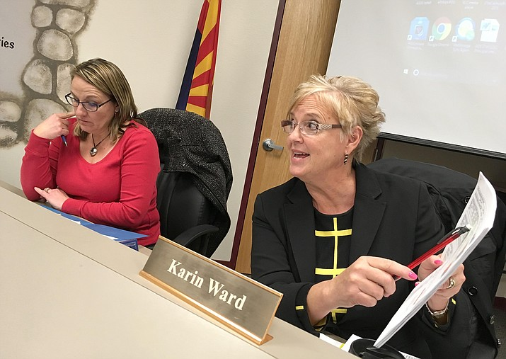Beaver Creek School Board member Karen Dufresne and District Superintendent Karin Ward, from left, discuss possible high school programming that could be offered at the K-8 school. Monday, the board will continue discussions on possibly offering high school curriculum. (Photo by Bill Helm)