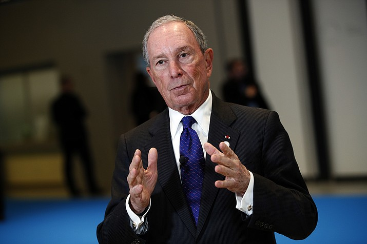 "In this Dec. 12, 2017 file photo, Special envoy to the United Nations for climate change Michael Bloomberg addresses the media at the One Planet Summit, in Boulogne-Billancourt, near Paris, France. Americans are facing an ""epidemic of dishonesty"" in Washington that's more dangerous than terrorism or communism. That's according to former the New York City Mayor who warned in a commencement speech on Saturday, May 12, 2018 at Texas' Rice University that ""an endless barrage of lies"" and a trend toward ""alternate realities"" in national politics pose a dire threat to U.S. democracy. (AP Photo/Christophe Ena)"