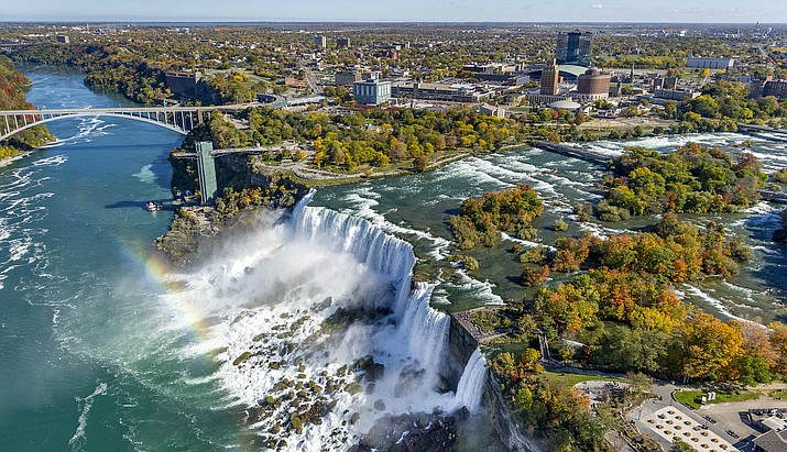 An aerial views of the American Falls at Niagara Falls State Park in New York (Business Wire)