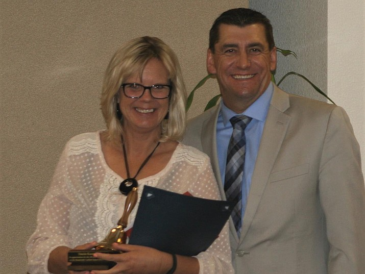 Humboldt Unified School District Teacher Stacia Knotek, left, with Superintendent Dan Streeter. (Courtesy)