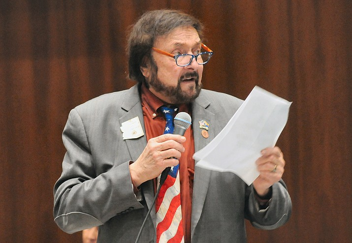State Rep. Jay Lawrence, R-Scottsdale, reads Thursday from a list of chemicals he said can show up on medical marijuana.  (Howard Fischer/Courtesy)