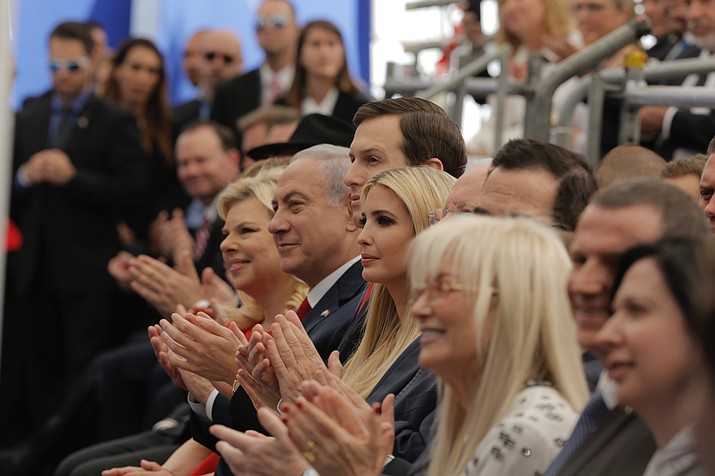 Israel's Prime Minister Benjamin Netanyahu, 2nd left, his wife Sara Netanyahu, left, Senior White House Advisor Jared Kushner, 3rd left, US President's daughter Ivanka Trump, center, US Treasury Secretary Steve Mnuchin, attend the opening ceremony of the new U.S. embassy in Jerusalem, Monday, May 14, 2018. (AP Photo/Sebastian Scheiner)