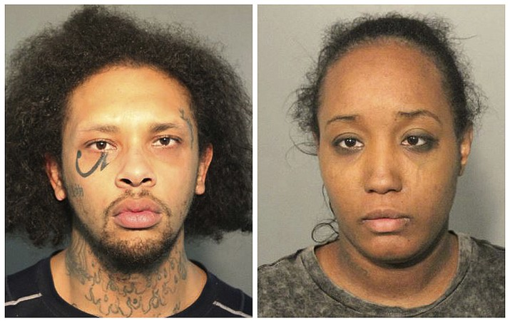 This photo combo of booking mugs provided by the Solano County Sheriff's Office in Fairfield, Calif., shows Jonathan Allen and his wife, Ina Rogers. Police said Monday, May 14, 2018, they had removed 10 children from a squalid California home and charged their father, Allen, with torture and their mother, Rogers, with neglect after an investigation revealed a lengthy period of severe physical and emotional abuse. (Solano County Sheriff's Office)