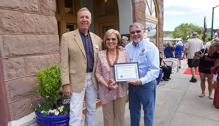 Prescott Mayor Pro-Tem Billie Orr, center, is pictured on Monday, May 7, 2018, with County Supervisor Thomas Thurman, at left, and the County Supervisors' chairman, Rowle Simmons, in front of the Prescott Chamber Visitor Center, 117 W. Goodwin St., in downtown Prescott, where they launched the Prescott Heritage Trail in conjunction with the 35th anniversary of National Travel and Tourism Week. (Courtesy/City of Prescott)
