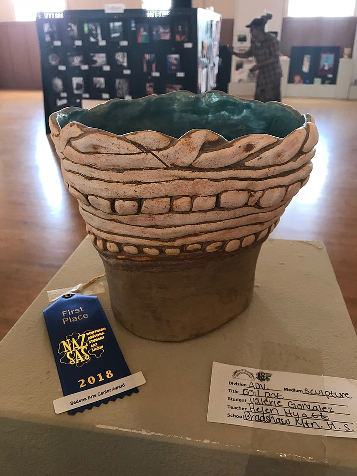 Valerie Gonzales won first place and $100 from the Sedona Art Center her ceramic coil vessel. (Courtesy)