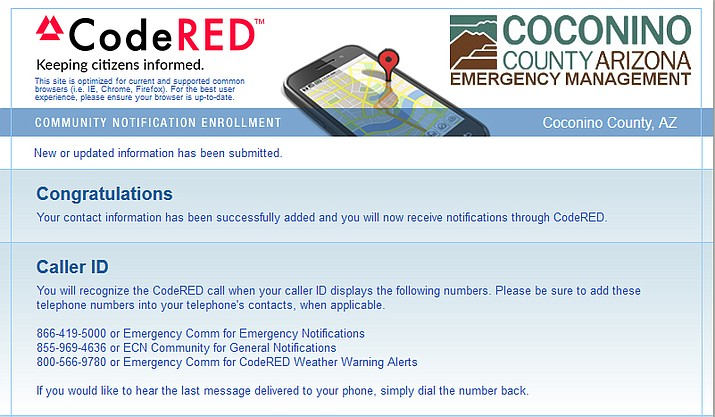 To sign up for Coconino County's CodeRED emergency notifications visit www.coconino.az.gov/ready. (screenshot of Coconino County CodeRed)